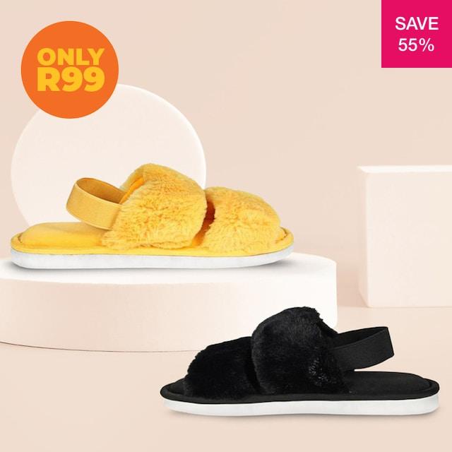 55% off on Ladies Fluffy Plush Strapback Slippers